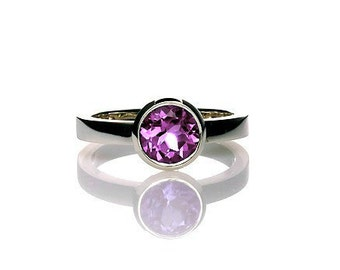 Amethyst ring, Palladium, Solitaire ring, engagement ring, purple, Amethyst engagement, birthstone, violet