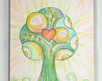 Original watercolor A4 - Love Heart Tree - Worldwide shipping - Art - Paper - Home decor - Wall art