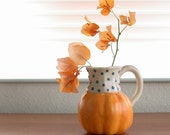 Ceramic Pumpkin Gourd Mug Curlicue Handle Tea Coffee Cup Vase 4.5 Inches Tall