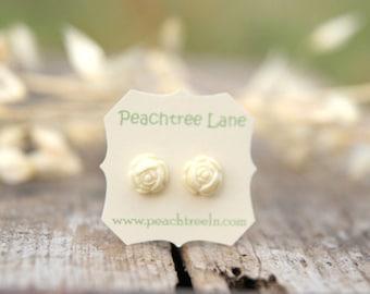 Cream Ivory Rose Flower Post Earrings // Bridesmaid Gifts // Maid of Honor Gifts // Rustic Vintage Wedding