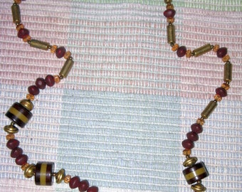 CLEARANCE SALE - Vintage Long Brown and Gold Glass and Lucite Necklace (N-3-1)