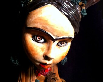 "s a L e...ADULT...*•.DeAr FriDa DeeR ooak LARGE Frida Kahlo 2 piece ""naughty no knickers""  ceramic reliquary  art altar doll"