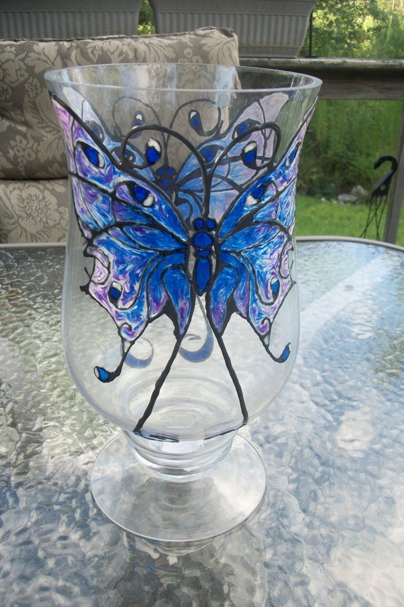 Over 30% off Hand Painted Butterfly Vase / Candle Holder