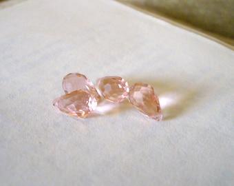 Light Orange, Crystal Glass, Faceted Teardrop Briolette Beads, 8x13mm, 12 Pcs