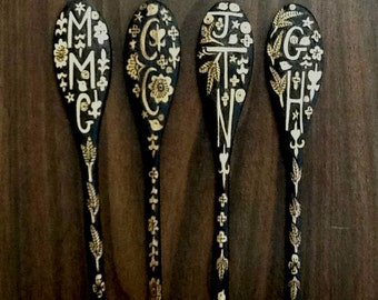 4 Custom monogrammed personalized spoons