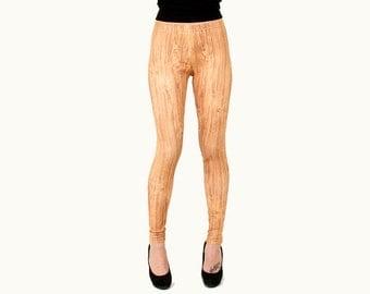 Light Woodgrain Print Faux Bois Wood Leggings Pinocchio Tights