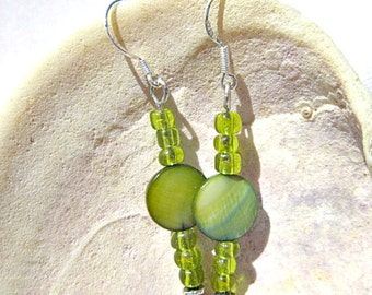 Green Shell Earrings with Green Seed Beads.   ID 268