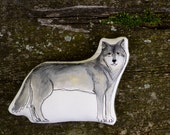 Gray Wolf Pillow Toy. Hand Painted Organic Cotton Soft Scuplture by Aly Parrott. Made to Order.