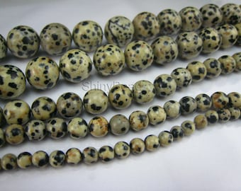 dalmatian obsidian round bead 10mm 15 inch strand