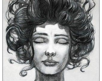Dream on - woman head - portrait-  charcoal drawing - giclée print
