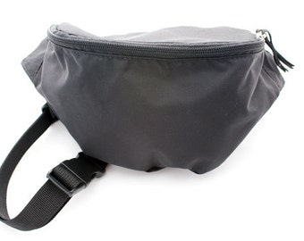 Fanny pack Black  - Hip Bag made from nylon packcloth with 2-zippers