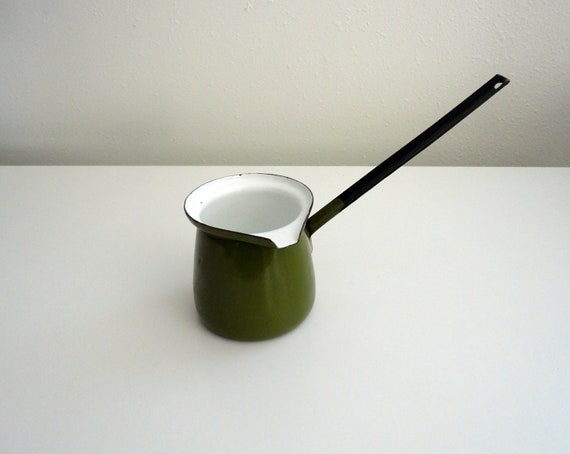Ladle Pot, Butter Warmer, Sauce Warmer, or Turkish Coffee Pot in Green
