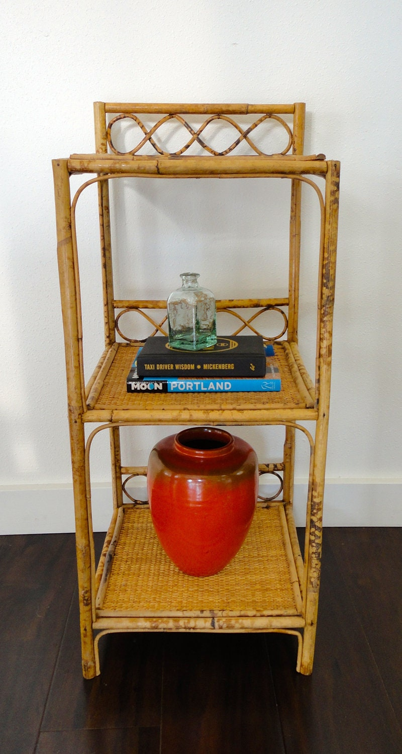 Rattan Bamboo Side Table Plant Stand In Tortoiseshell