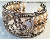 White Pearl, Citrine and Silver Wedding Cuff Bracelet