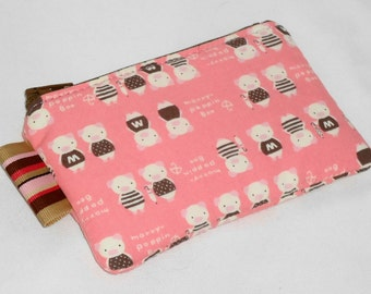 Preppy Piglets on Pink Padded Zippy Pouch  -- Camera Case/Small Wallet/Card Holder