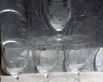 Halley's Comet Hand Cut Blown Crystal Cordial Glasses Stemware Set Four 1910s Bar Ware