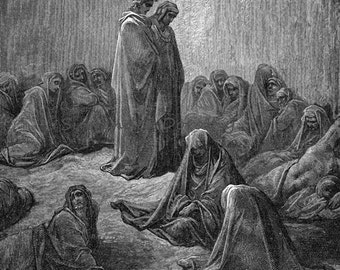 Envious Souls Canto 13 Purgatory Purgatorio Vintage Engraving Gustave Dore'