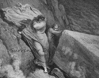 Pope Anastasius II Burning Tomb Inferno Canto 11  Gustave Dore Vintage Engraving Dante Hell