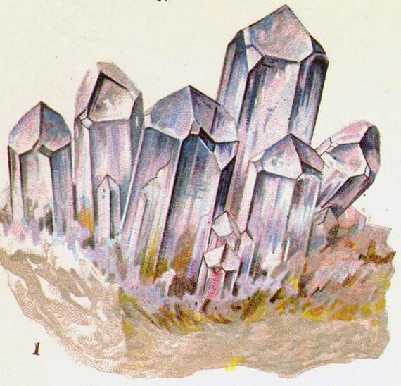 Amethyst Smoky Quartz Clear Quartz Cat's Eye Rose Quartz Crystal Stone Mineral Vintage Lithograph Edwardian Geology Print To Frame 11