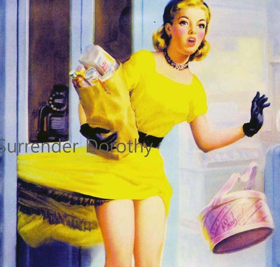 Pretty Blonde Shopper Loses Panties Vintage Pinup Girl Poster Print To Frame Mid Century Cheesecake 1950s By Art Frahm