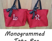 9 Personalized Bridesmaid Tote Bags- Wedding Party Gift- Bridal Party Gift- Initial Tote- Mother of the Bride Gift