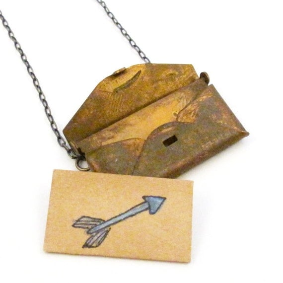 Love Letter Envelope Locket With Blue Arrow Drawing