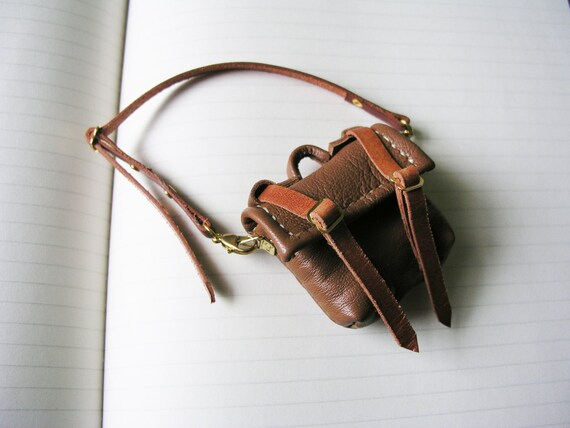 Mini Leather Satchel with removable shoulder strap for Timmie Tadpole or similar sized toys or dolls