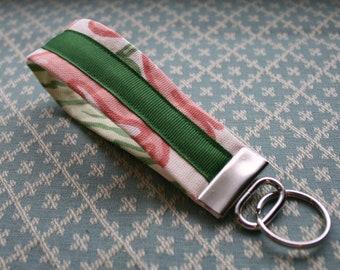 Fabric Key Chain, Wristlet Key Fob, Ribbon KeyChain, Keychain Wristlet