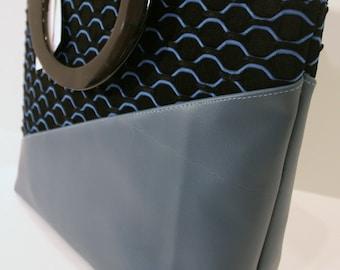 Blue and Black Fabric Handbag, Handmade Handbag, Vinyl Fabric Handbag Purse, Veronica Collection/Emily Bag