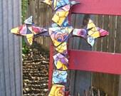 CLEARANCE Ceramic Mosaic on Fleur de Lis Wall Cross