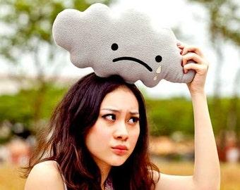 Gray Cloud Cushion, Gray Cloud Plush Toy, Sad Rain Cloud, Sad Cloud, Cloud Pillow, Huggable Cloud, Crying Cloud, Decorative Cloud,cloud doll
