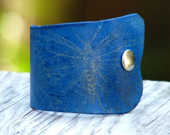 Women's Butterfly Leather Wristband Cuff - Fossil Blue