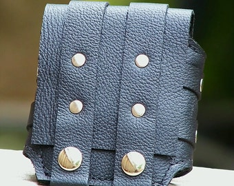 Rustic Leather Wrist Wallet Cuff for Men and Women - MADE TO ORDER Wristband