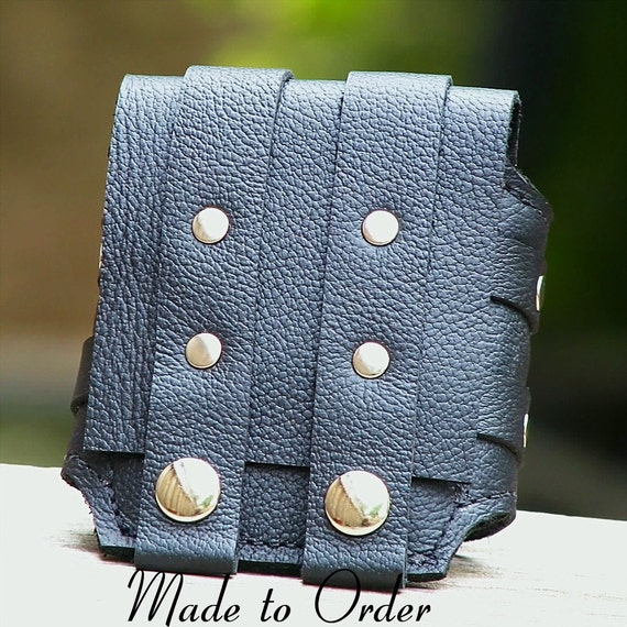 Rustic Leather Wrist Wallet Cuff Biker Wallet for Men and Women - MADE TO ORDER Wristband