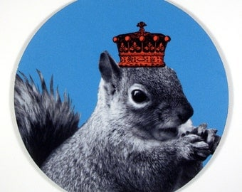 Squirrels RULE squirrel in a Crown mouse pad with art by YOU KNOW oh yeah mousepad