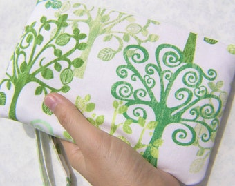 Wedding clutch 2 pockets,medium,green,trees,cotton, gift for her -  Trees