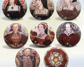 The Tudors King Henry VIII and his Six Wives badges Set of 8 pin back buttons