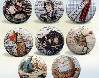 Alice in Wonderland Set of 8 magnets