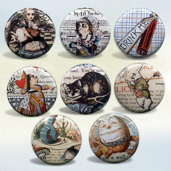 Alice in Wonderland badges Set of 8 pin back buttons