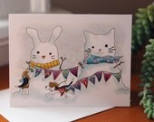 Happy Holidays Cards, Beagles making snow bunny & cat  (set of 5)