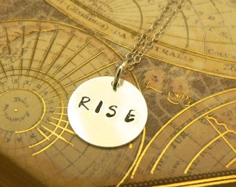Rise sterling silver mantra necklace personal talisman jewelry