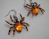 Beaded Spider Earrings - Orange and Black