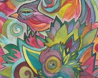 Birds of Paradise Original Watercolor by Megan Noel