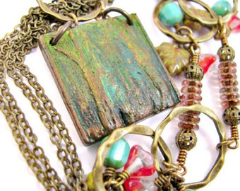 Tree Forest Necklace - Polymer Clay - Nature Boho Rustic - Green Bronze Brass