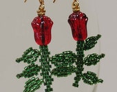 Beadwoven Red Glass Tulip Earrings