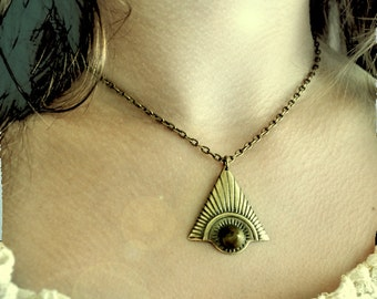 Pyramid Necklace Triangle Charm with Spike Stud Antique Gold tone