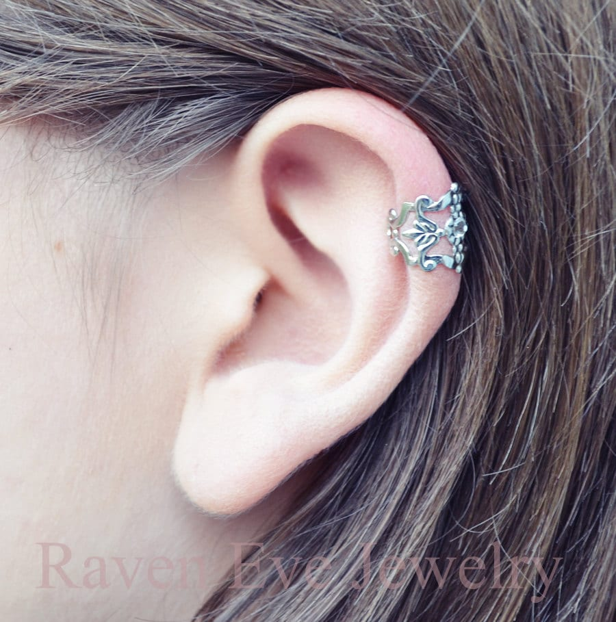 filigree ear cuff silver tone accent