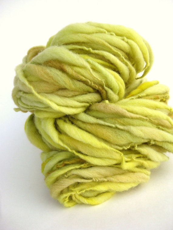 Handspun Yarn - Hand Dyed Art Yarn - Thick and Thin - Bulky Single - Lemongrass - 52 Yards