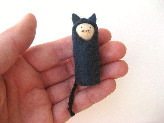 Little Black Cat Halloween Sprite - Hand Embroidered Wool and Wood - Waldorf Inspired
