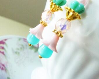 Pink Flower Earrings, Aqua Beaded Earrings, Pink Glass Earrings, Pastel Earrings, Quirky Floral Earrings